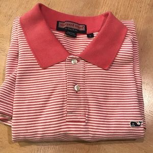 Lg L Vineyard Vines striped polo embroidered whale